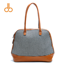 Herringbone Tartan Plaid Houndstooth Shell Tote Bag Winter Fall Women Handbag with PU Leather Handle DOM399