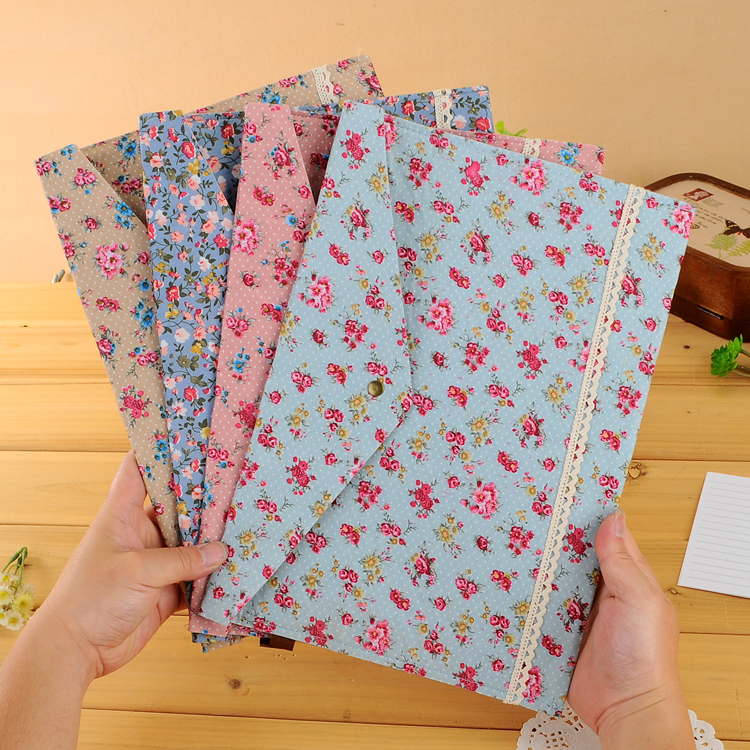 New Floral Lovely Polka Dot Floral A4 Pouch Bag Case Paper Cute Korean Office School Filing Products Document 1 Pieces