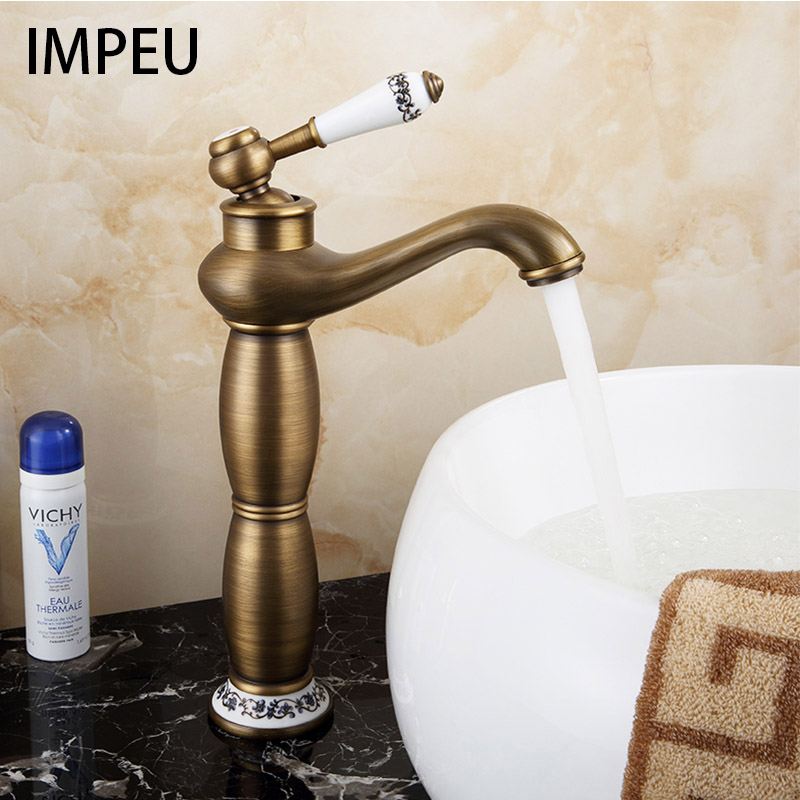 Single Hole Deck Mounted Bathroom Countertop Faucet One Handle Vessel Sink Mixing Tap Antique Brass