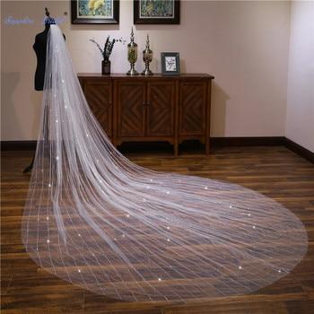 Sapphire Bridal 4m Cut-edge Long Wedding Veil Velo De Novia 1 Tier Cathedral Bridal Veil with Comb Wedding Accessories 2019 New