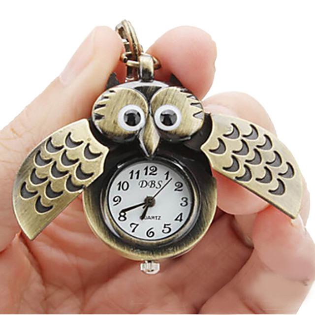 #5001Owl Retro Watch Key Buckle Watch Necklace Pendant Watch Jewelry Quartz Watc