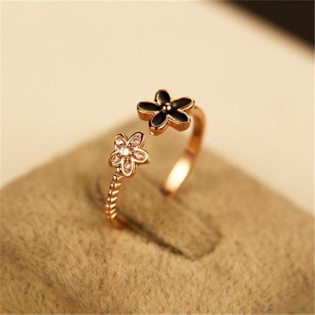 Cx shirling new blackwhite flower ring fine jewelry female real cx shirling new blackwhite flower ring fine jewelry female real rose gold cute opening wedding mightylinksfo