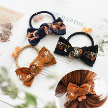 National Style Embroidered Bow  Elastic Hair Bands  Elegant Hair Accessories For Girls Rubber Band Gum For Hair Tie For Women