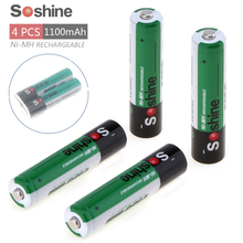 4pcs Soshine 1100mAh 1.2V AAA Battery/3A Battery Ni-MH NiMH Rechargeable Battery+ Storage Box Battery Case Holder