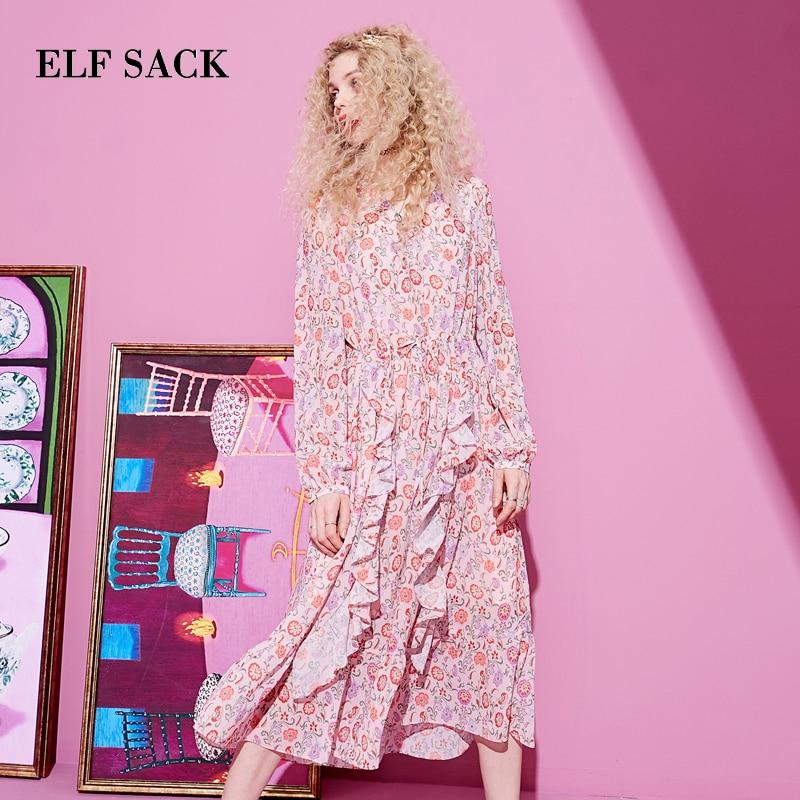 ELF SACK Spring Woman Dress Casual Floral Print Full Women Dresses Stylish V Neck A Line