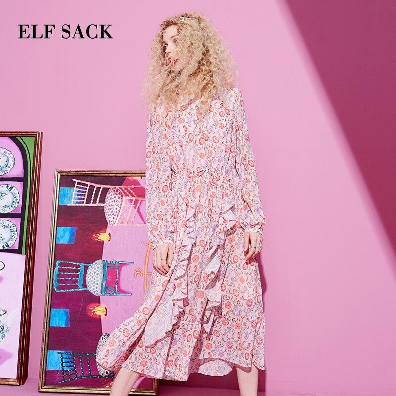 ELFSACK Spring Woman Dress Casual Floral Print Full Women Dresses Stylish V-Neck A-Line Femme Dress Office Lady Party Dress