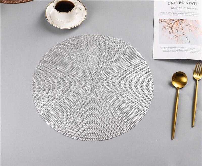 38CM Hotel Restaurant Round PVC Placemat Nordic Anti-scalding Insulation Table Mat Steak Pad (16)