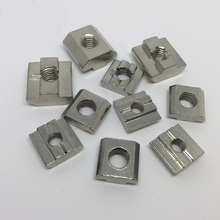 50pcs M3 M4 M5 M6 Nickel Plated T nut Flat Head Fasten Nut for Aluminum Extrusion Profile 2020/3030 series