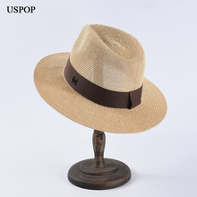 USPOP 2019 Newest men sun hats letter M straw casual summer beach hat classic jazz