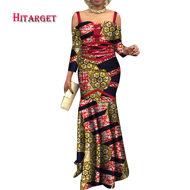 Hitarget African Women Dresses  Dashiki Dress African Print Sexy Strapless Fishtail Dress  African Women Clothing Party WY3750