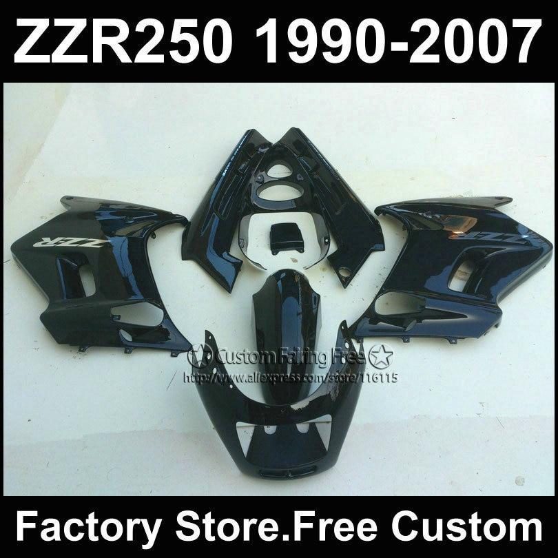 ABS plastic motorcycles fairings kit for Kawasaki ZZR-250 ZZR250 1990 1992 2007 ZZR 250 90-07 black body repair fairing parts