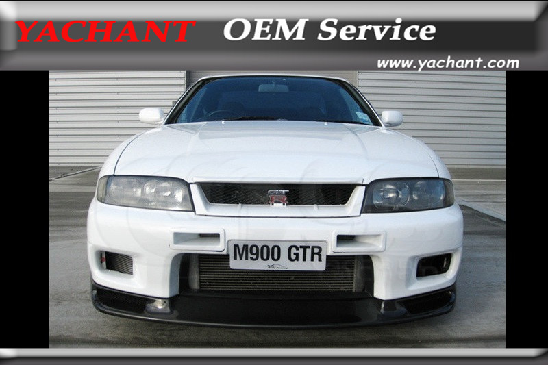 Car-Styling FRP Fiber Glass Front Lip Fit For 1995-1998 Skyline R33 GTR (Fit GTR Only) Jun Style Front Bumper Lip image