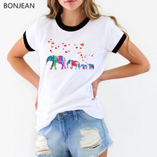 2019 summer tops Funny tshirt women Dumbo Elephant family watercolor animal Print T-Shirt female harajuku kawaii Tee shirt femme