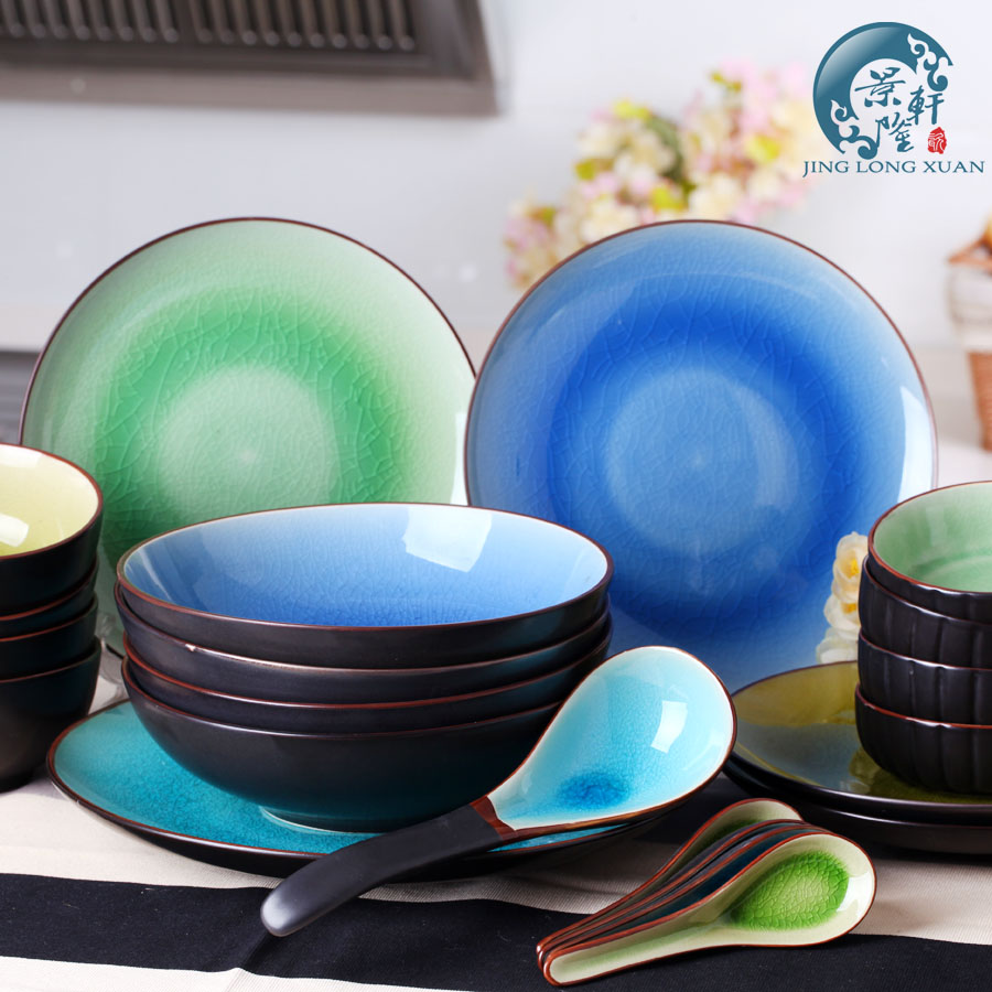 China Ceramic Japanese Style Dinnerware Sets of 22 for 4 Crackle Glaze Porcelain Plate Microwave Oven Bowl Dishes Tableware-in Dinnerware Sets from Home ... & China Ceramic Japanese Style Dinnerware Sets of 22 for 4 Crackle ...