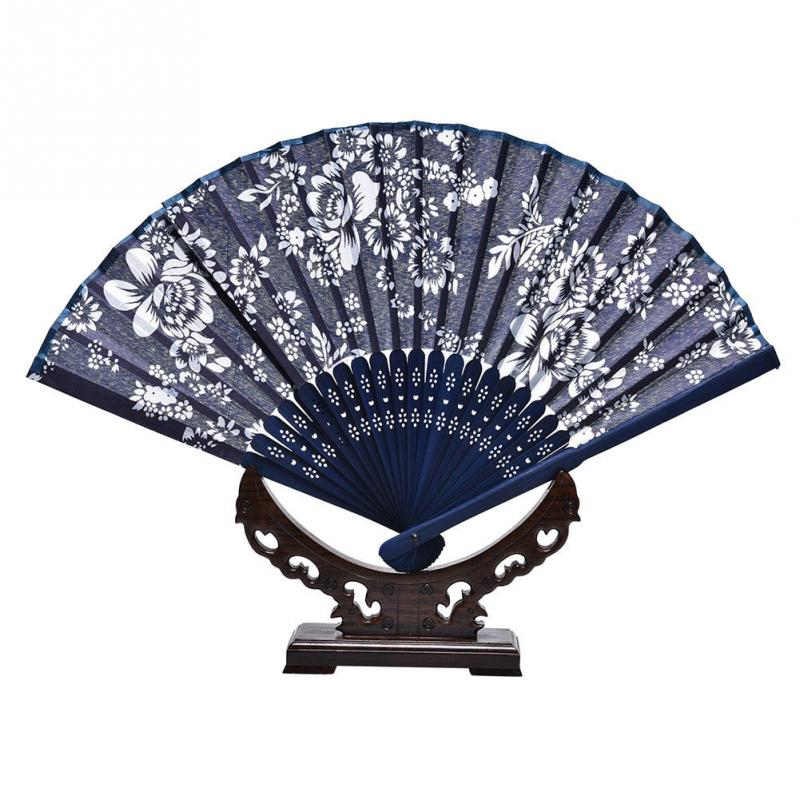 Outdoor Dancing Festival Women Gift Folding Fan Flower Prints Cloth Fan
