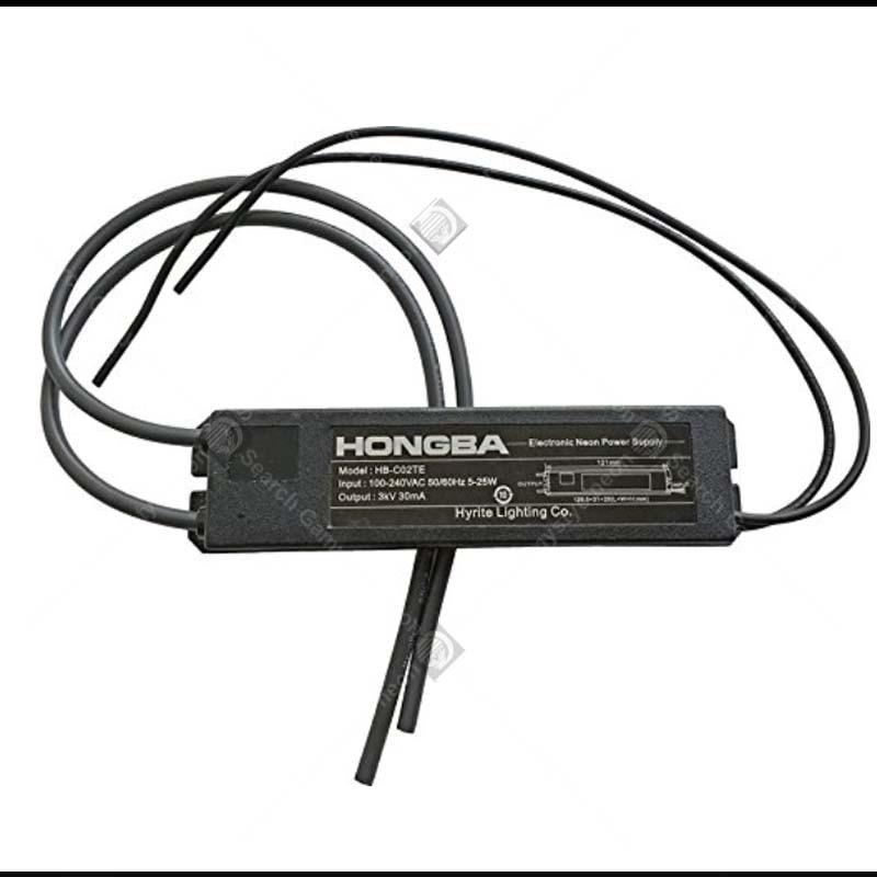 HB-C02TE fuente de alimentación de 3KV para señal de neón de vidrio transformador de luz de neón electrónico con tubo de protección termoretráctil