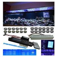 Fantasma programmable romote 300 w aquário dimmable controlador sem fio led luz 100x3 w sunrise sunset coral reef led iluminação
