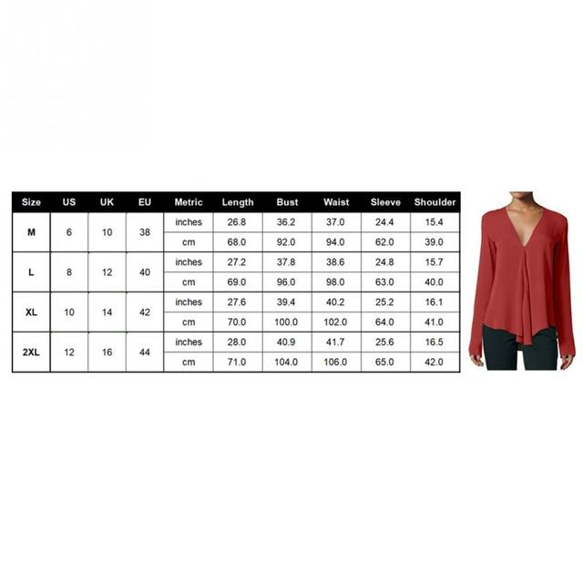 Women V Neck Top Ladies Blouses Casual Chiffon Fashion Long Sleeve Solid Sexy