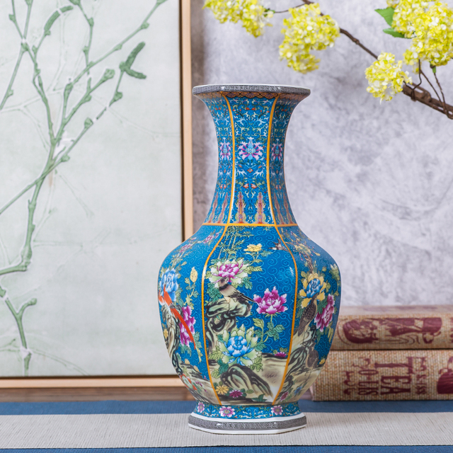 Jingdezhen Antique Enamel Vase Polygon Vases Flowers And Birds