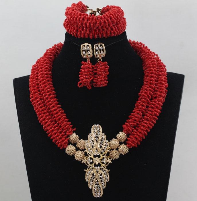 Déclaration de mariage rouge gracieuse ensemble de bijoux africains Dubai or Costume pendentif collier ensemble pour les mariées livraison gratuite WD217