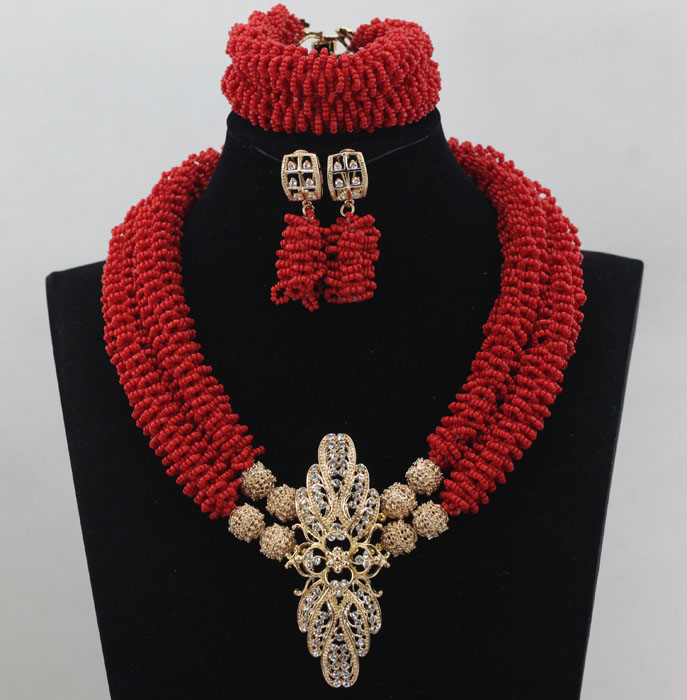 Graceful Red Wedding Statement African Jewelry Set Dubai Gold Costume Pendant Necklace Set for Brides Free Shipping WD217Graceful Red Wedding Statement African Jewelry Set Dubai Gold Costume Pendant Necklace Set for Brides Free Shipping WD217