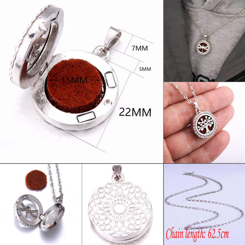 Aromatherapy Diffuser Necklace Hollow Oval-shape Lockets Pendant Necklace AU