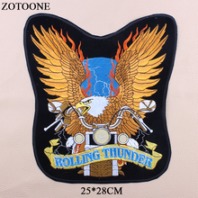 ZOTOONE Large Eagle Patch Morale Iron On Biker Back Badge Punk Motorcycle Embroidery Patches For Clothes Jacket Jeans