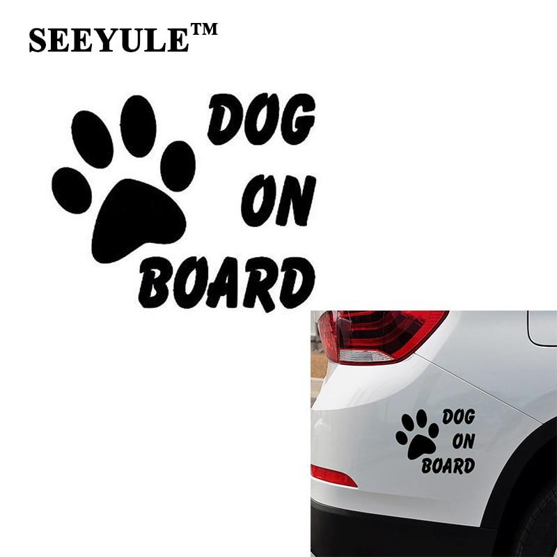 1 шт. SEEYULE собака на борту Автомобильная наклейка светоотражающая предупреждающая наклейка безопасность вождения украшения тела, аксессуар...