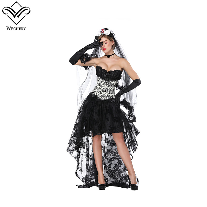 Wechery Summer Lace Skirt & Retro Floral Corsets Victorian High Waist Mesh Elastic Skirts with Overbust Slimming Tops  Bustier