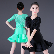 Professional Latin Dance Dress For Girls Children Kids Ballroom Latin Salsa Tango Dress Performance Costume Skirt with Fringe недорого