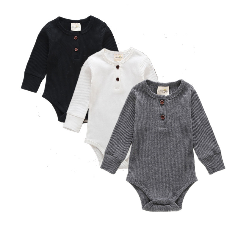 2019 Newborn Infant Solid Bodysuits Cute Cotton Long Sleeve Unisex Bebe Boys Girls O Neck Romper Baby Clothing Leotard Body Tops