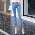 Nueva llegada del resorte de las mujeres al por mayor de mezclilla pantalones flare top brand vaqueros delgados mediados de cintura del tobillo de longitud pantalones vaqueros de las mujeres