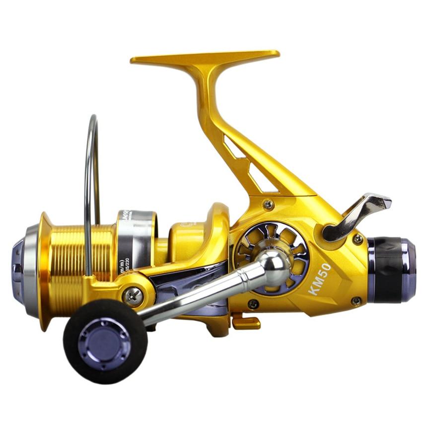 Yumoshi métal carpe filature mouche pêche Moulinet Baitcasting Moulinet pêche frein à main roue de pêche KM50 KM60 bobine