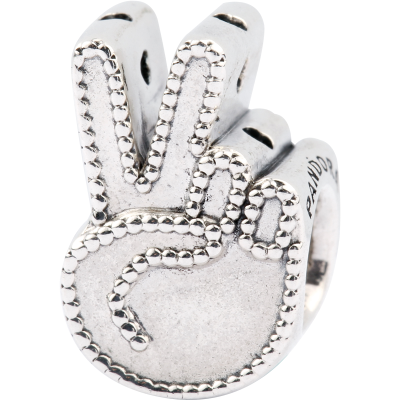 2018 Summer Real 925 Sterling Silver Bead Symbol Of Peace Charm Fit