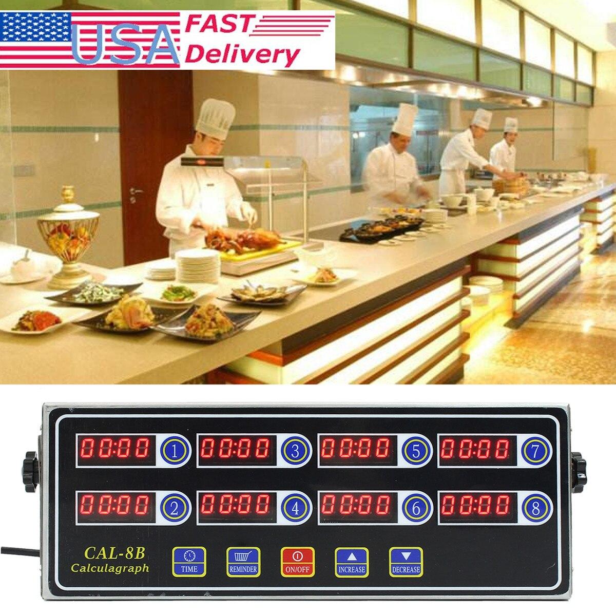 Nero Timer 8 Channel Digital CAL-8B Burger Cestino Scuotendo Timing 3 Fase Promemoria volume della Suoneria regolabile