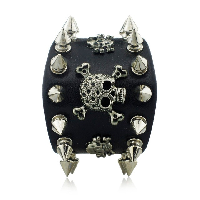 Wide Leather Bracelet with Skulls and Spikes