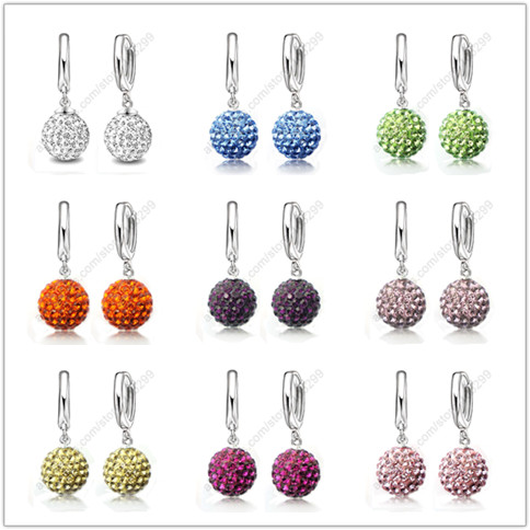 Hot Sale Multi Colors 1 Pair Real Pure 925 Sterling Silver Austrian Pave Disco Ball Hoop Lever back Earring Woman Jewelry 5