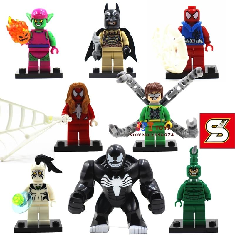 80pcs starwars superhero Comics Venom Doctor Octopus Spiderman Batman building blocks bricks games kids children toys iluminador