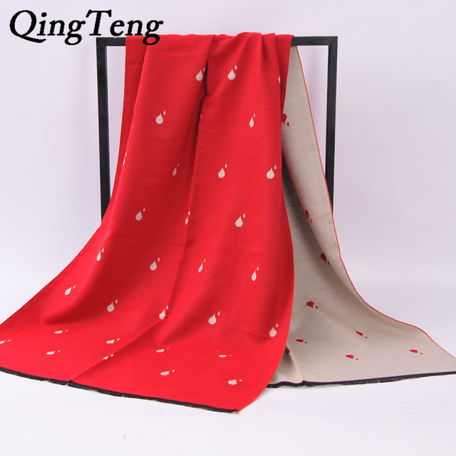 QingTeng Brand Drop Print Cashmere Scarf Women Oversized Knitted Warm Pashmina Shawls Check Blanket Ponchos And Capes Cachecol