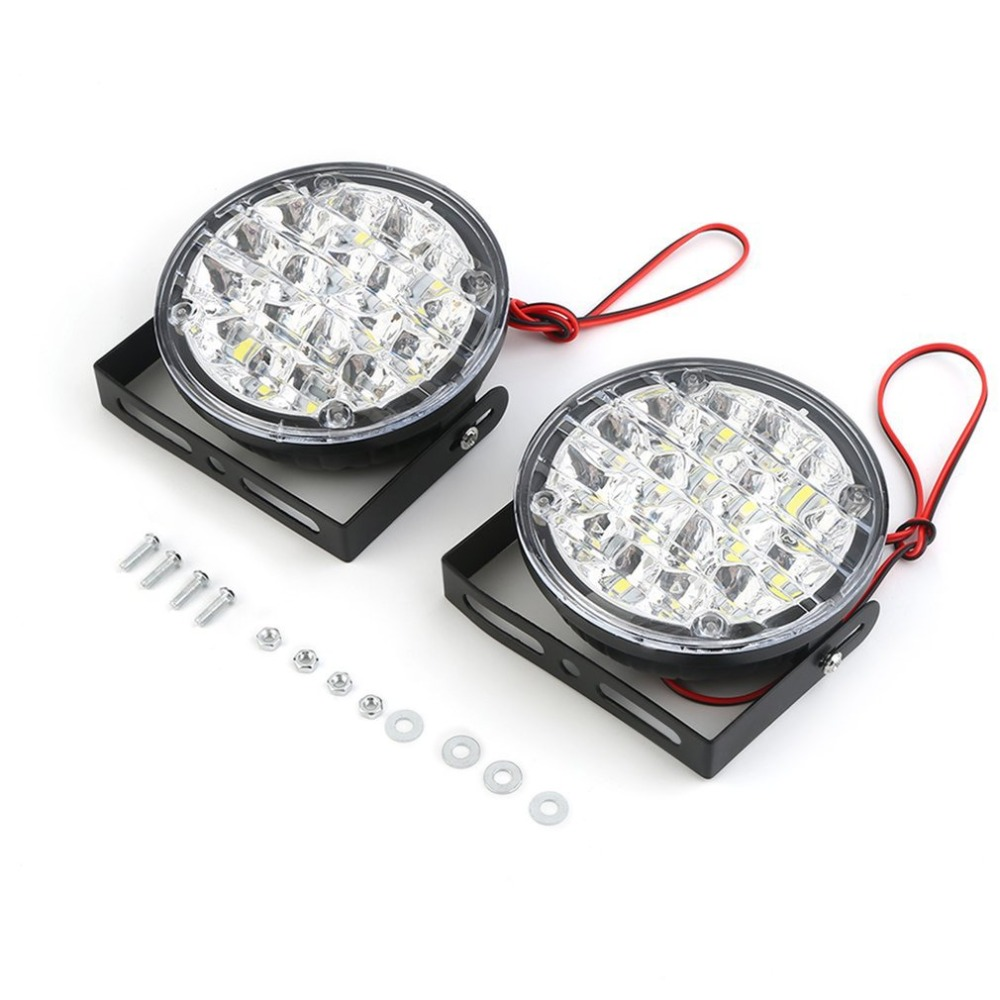 2pcs/set Waterproof 24V 18 LEDs Round Shape Auto Car Fog Lamp Driving Daytime Running Light with Ultra Brightness