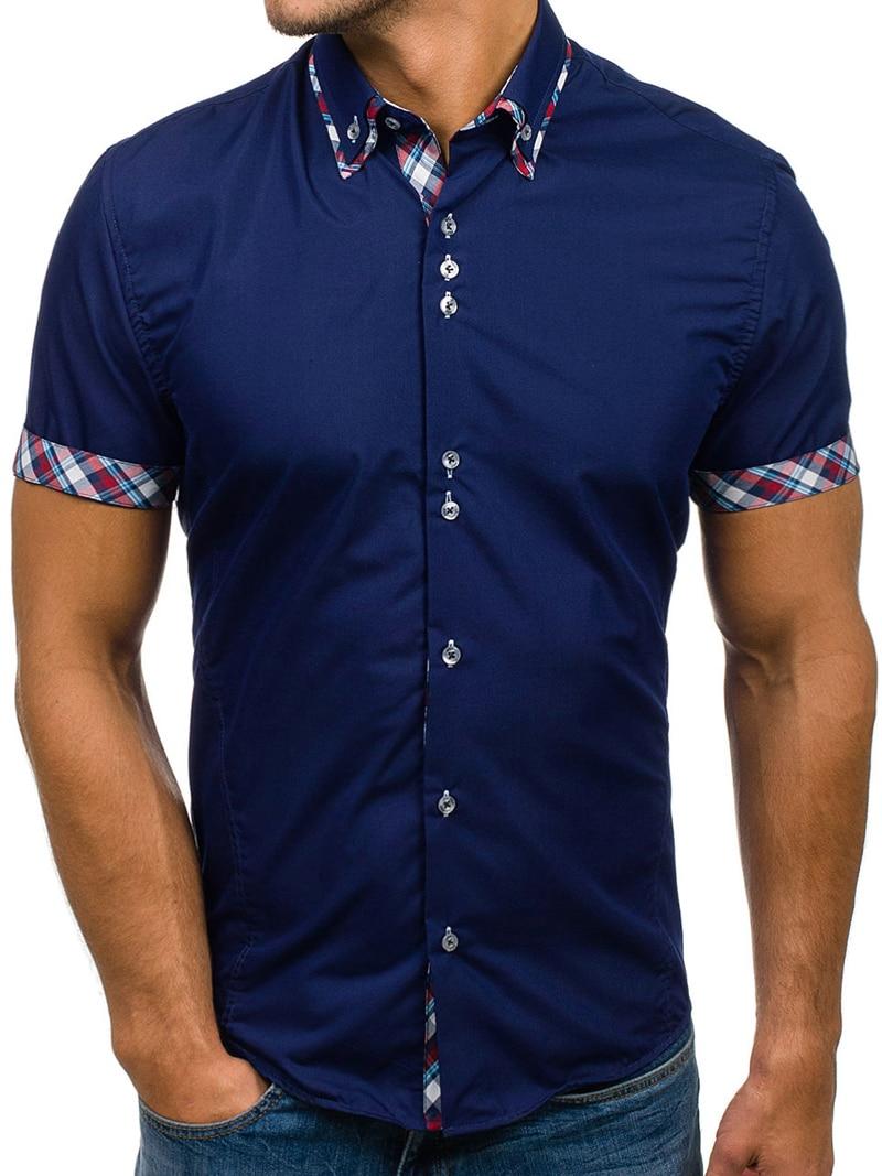 Brand 2018 Fashion Male Shirt Long-Sleeves Tops Plaid Classic Splicing Mens Dress Shirts Slim Men Shirt XXXL