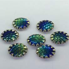 100pcs AB color Fish scales Rhinestones Buttons for Clothing sew on handbag  shoes Button DIY scrapbooking accessories 14b401e0c174