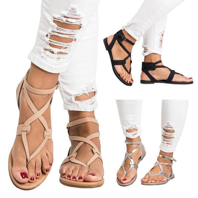 SAGACE Обувь, сандалии женские летние сандалии с перекрестными ремешками ботильоны на плоской подошве в римском стиле Повседневная обувь Повседневное сандалии летние 2018MA16