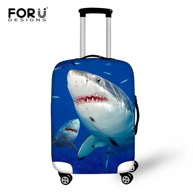 FORUDESIGNS Shark Dinosaur Travel Luggage Suitcase Protective Cover Trolley Baggage Bag Cover Thick Elastic Case For Suitcase