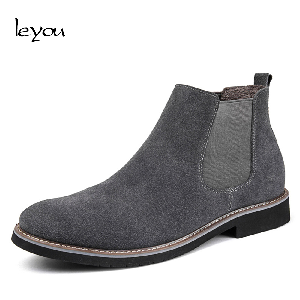 Leyou Suede Boots Men High Top Shoes Brands Boots Shoes Winter Men Suede Chelsea Boots Ankle