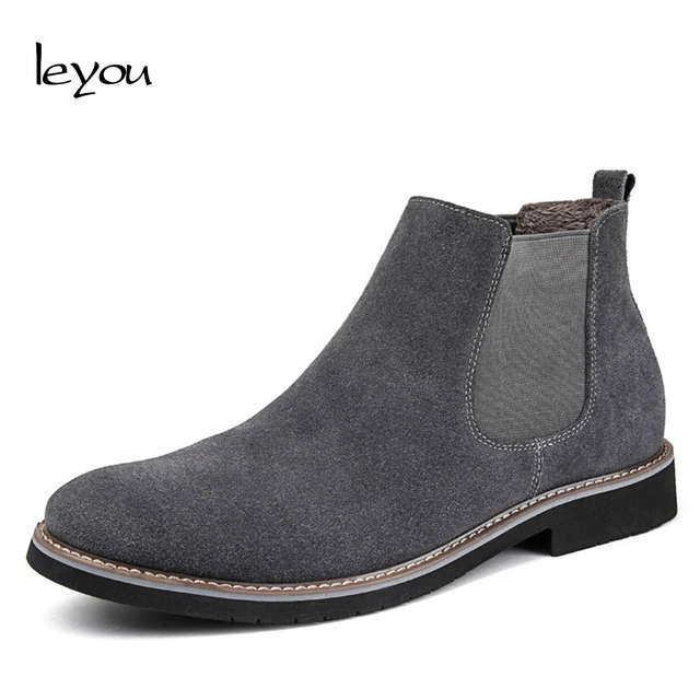 6413006f57ce4 Leyou Suede Boots Men High Top Shoes Brands Boots Shoes Winter Men Suede  Chelsea Boots Ankle Mens Work Shoes Low Heel Botas
