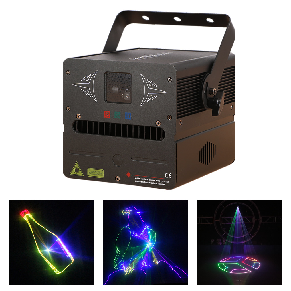 500mW RGB Full Color SD Card Program 12CH DMX Scan Animation Laser Lighting DJ Party Disco Show Pro Projector Stage Light FB500