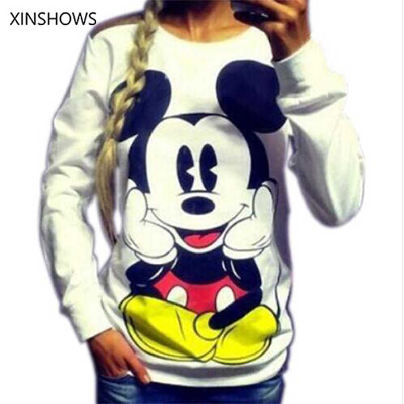 2016 Fashion Nieuwe Europese Mickey Afdrukken Sweatshirt Hoodies Lange Mouw Losse Vrouwen Crewneck Size S-XL Hot Koop 2016