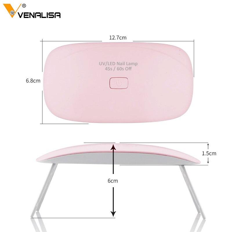Professional 6w Venalisa LED UV Lamp with USB plug Gel Nail Polish Drying Mini Nail Lamp Power Cable Lamp Nail Gel Polish dryer