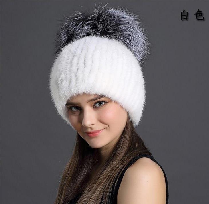 Mink hat female lined knit hat winter warm fox head cap
